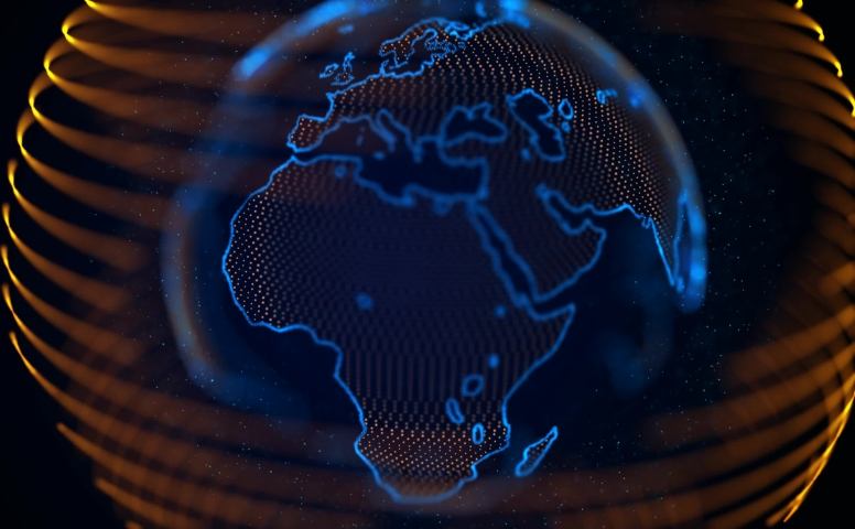 Spinning digital blue earth.Television channel news intro outro   Shutterstock HD Video #1053655766