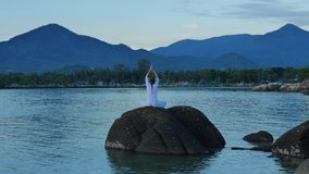 Yoga in nature, meditation, serenity and yoga practicing