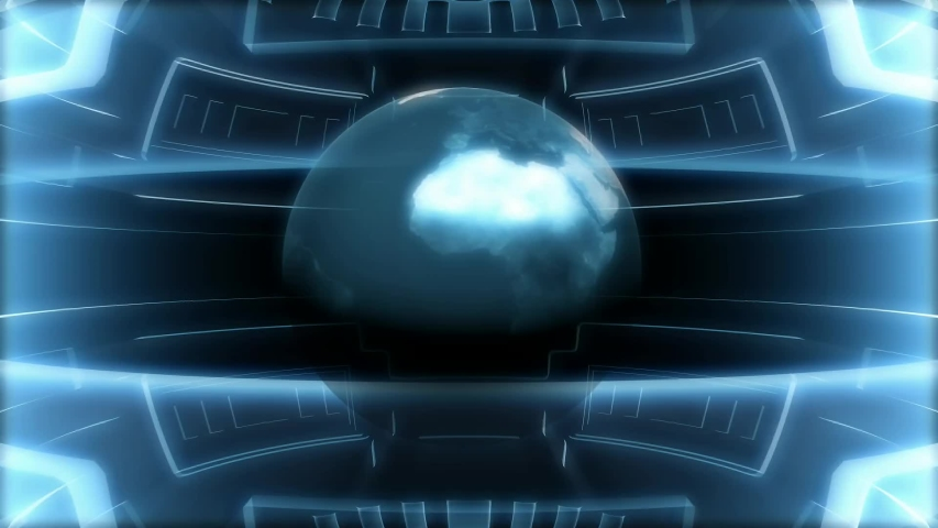 Revolving globe and blue rectangle.Television channel news intro outro   Shutterstock HD Video #1053657905