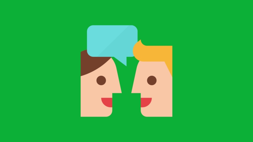 Discussions - two people sharing conversation with speech bubble animated icon on Green screen with Blank Chatbot for text - 4K animation