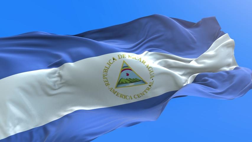 Nicaragua flag - 3D realistic waving flag background
