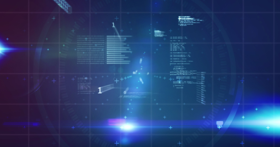 Animation of stock market display with red, purple and blue stock market tickers and graphs, price going up and down at the stock exchange, binary coding flowing on blue background.   Shutterstock HD Video #1053658658
