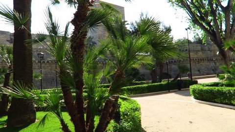 Bari \ Italy 8.9.2018         footage of garden in Bari  , taken by handheld camera