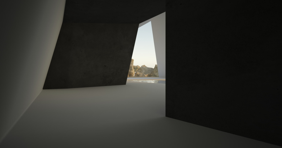 Abstract architectural minimalistic background. Modern villa made of black concrete. Сontemporary interior design. View from the lobby to the sea . 3D animation and rendering. | Shutterstock HD Video #1053663374