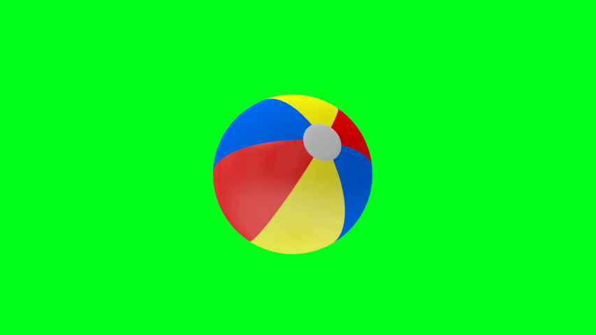 3D animation of a colored beach ball rotation, isolated on a green screen. 4K video.