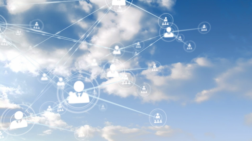 Animation of network of connections and icons moving over clouds passing on blue sky in the background. Digital network of global connections networking business concept. | Shutterstock HD Video #1053672131