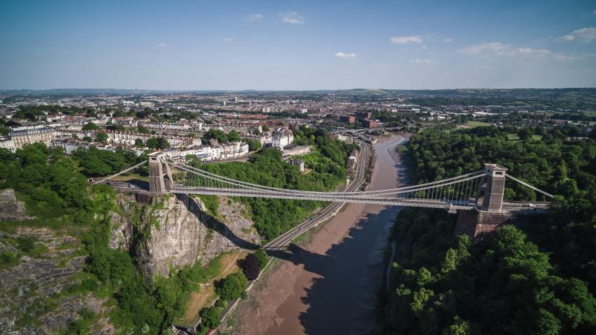 Aerial View Shot of Bristol UK, Clifton Suspension Bridge, United Kingdom