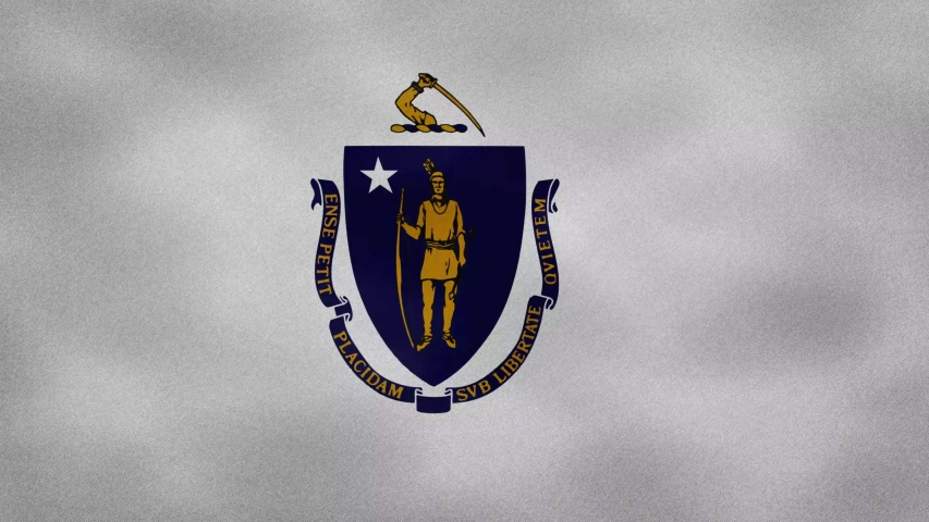 Massachusetts US dense flag fabric wavers, perfect loop for background
