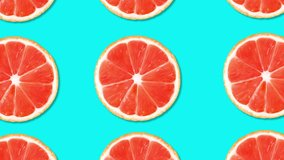 4k. Abstract background. Grapefruit motion animation. Summer pattern. Motion graphics. Horizontal view. 3840x2160.