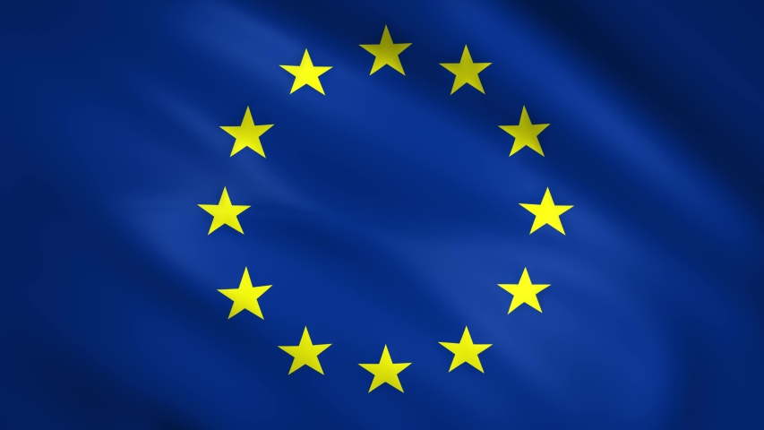 European Union flag it moves in slow motion in the wind | Shutterstock HD Video #1053681776