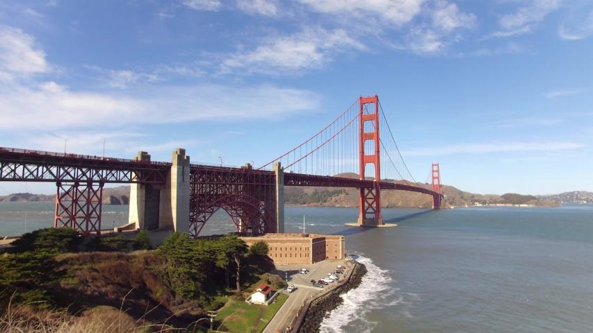Golden Gate Bridge, San Francisco, California, USA. Golden Gate landmark with San Francisco green hills on a background. 4K