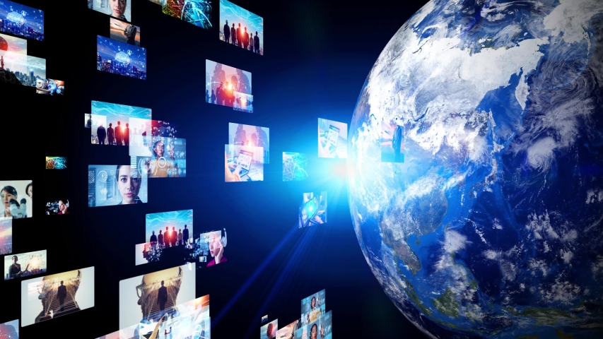 Global communication network concept. Social networking service. Streaming video. communication network. Royalty-Free Stock Footage #1053702596