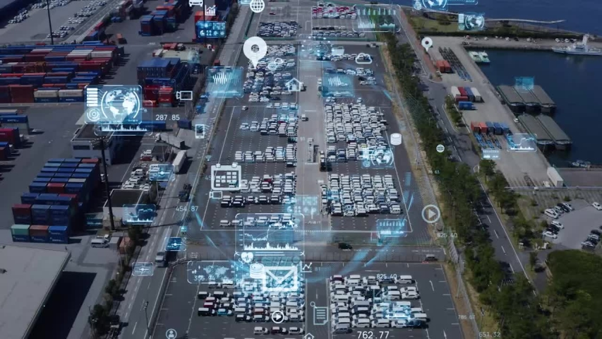 Logistics and technology concept. Warehouse aerial view. Royalty-Free Stock Footage #1053702626