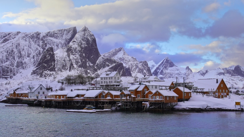 Sakrisoy fishing villiage at Lofoten islands, Norway, Europe   Shutterstock HD Video #1053722951