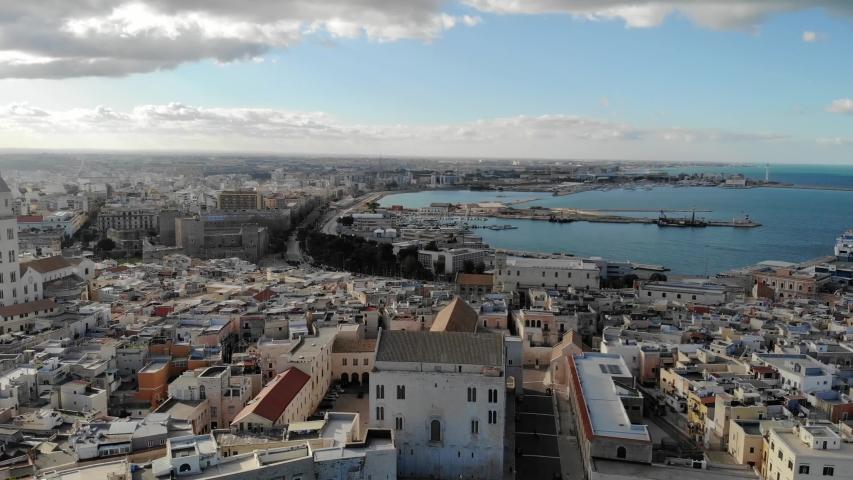 Panoramic aerial view of old town of Bari, Puglia, Italy. 4K