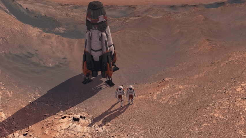Astronaut wearing space suit walking on the surface of Mars. Exploring mission to mars red planet. Futuristic colonization and space exploration concept. Elements of this video furnished by NASA Royalty-Free Stock Footage #1053727214