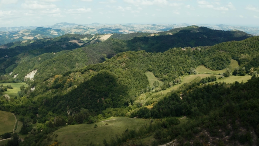 Aerial shot of the Italian Apennines in spring. Green landscapes  | Shutterstock HD Video #1053732632