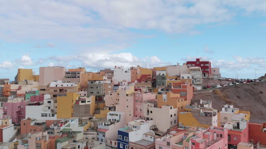 Aerial view of Colorful houses of San Juan neighborhood in uptown in Las Palmas | Shutterstock HD Video #1053755522