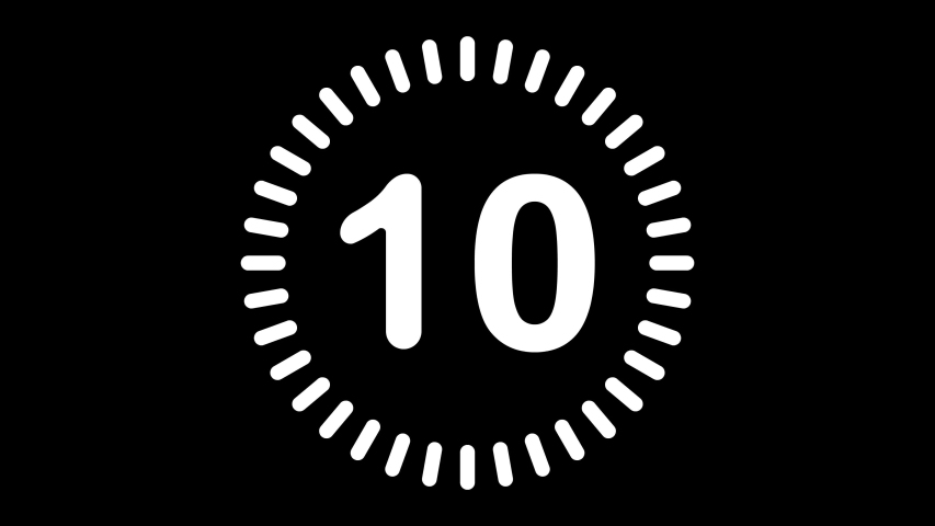 Old style video countdown counter with rounded corners for 10 to 1 on a black background. Royalty-Free Stock Footage #1053757244