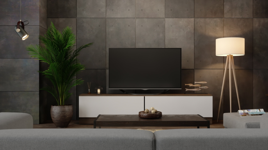 3d Rendering of Smart Tv On Cabinet In Living Room at Night | Shutterstock HD Video #1053765806