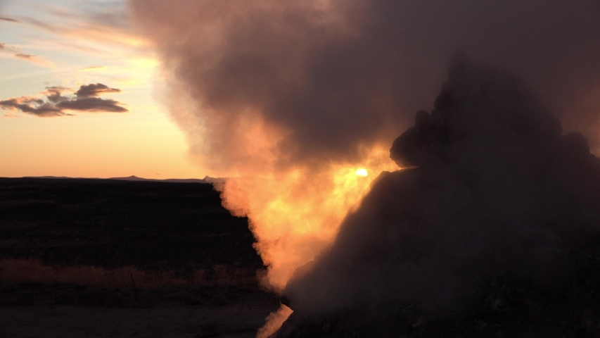 Iceland. Eruption of fumaroles on geothermal field