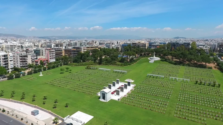 Aerial view of Phaleron War Cemetery in Athens, Greece.