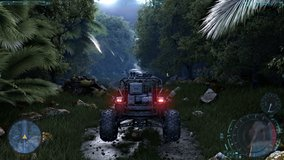Speed Racing 3d Video Game with Interface. Rain and jungle. Baggy dirty rally. Gameplay Screen.