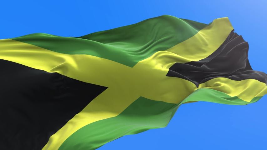 Jamaica flag - 3D realistic waving flag background   Shutterstock HD Video #1053787457