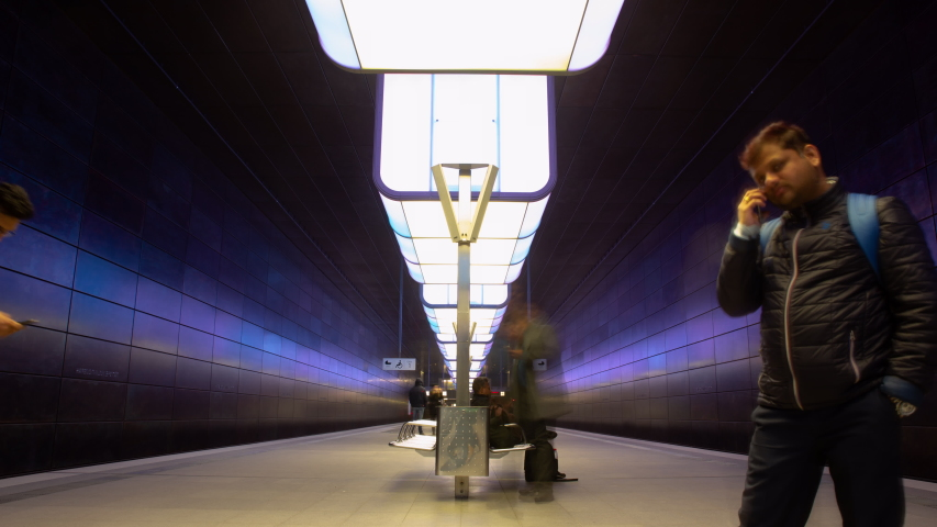 Hamburg, Germany May 12 2019: Time lapse of the hafencity train station in Hamburg Germany during light shows