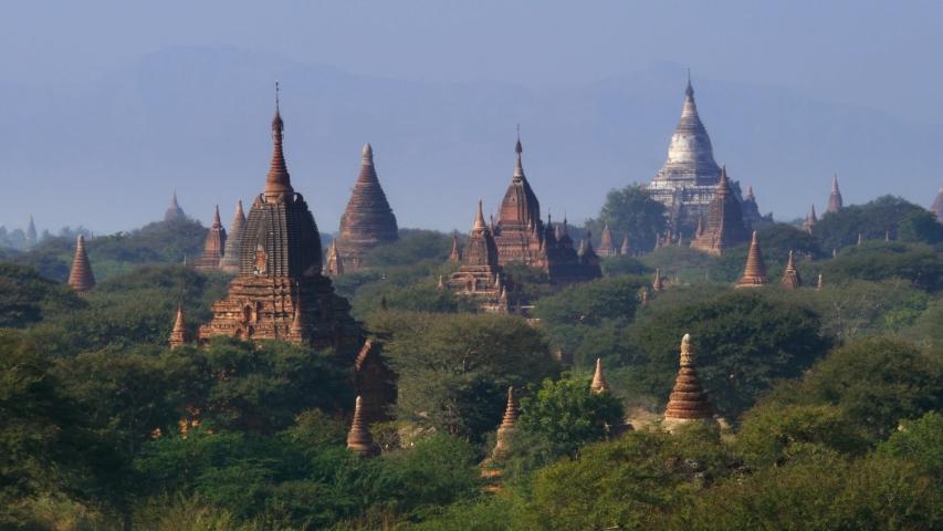 The Temple of Bagan at sunrise, Bagan, Myanmar   Shutterstock HD Video #1053795686
