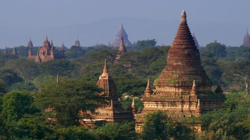The Temple of Bagan at sunrise, Bagan, Myanmar   Shutterstock HD Video #1053795689