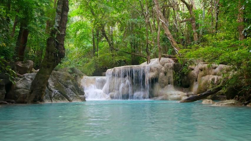 Erawan waterfall in the forest of Kanchanaburi, Thailand (dolly shot)   Shutterstock HD Video #1053795695