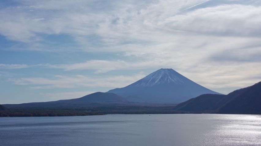 Mountain fuji view from Motosuko Lake, Japan   Shutterstock HD Video #1053795713