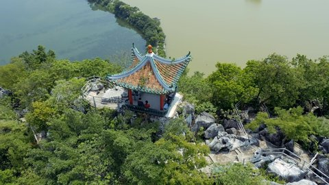 Pagoda at the top of the mountain. Seven Star Crag Park (Qixing Yan) in Zhaoqing, Guangdong province China