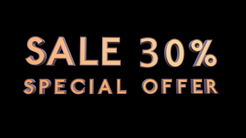 Special offer sale 30 percent off 4K 3d animation rendering with Alpha Channel Matte mask 30% off
