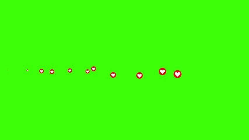 Toronto, Ontario, Canada Circa Jan 2020: Social media Live style animated heart on green screen and alpha matte.  Horizontal on screen. 4K 2D animation.