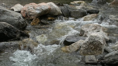 Natural Relaxing Loopable Water Stream with Foam and Stones.