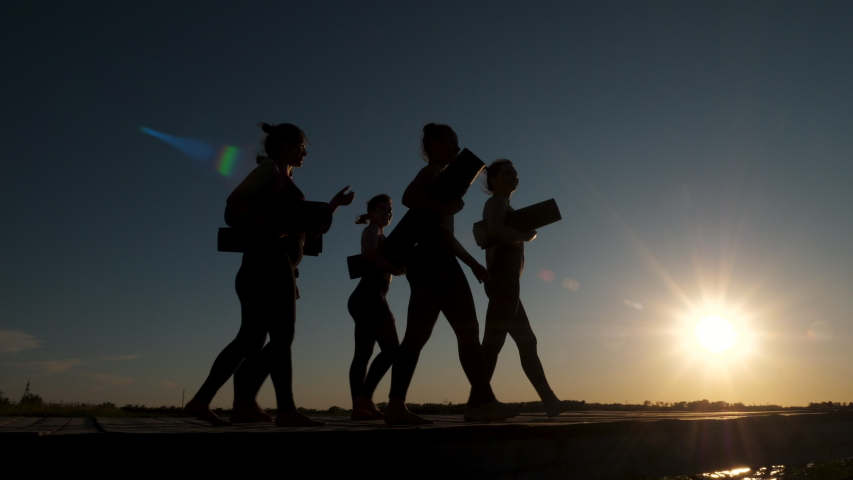 Silhouette of Group of Five Happy Talking Women Together Going Along Wooden Bridge Holding in Hands Sport Mats Near Water at Sunset. Ready to Fitness Training, Active Leisure Outdoor for Body Wellness