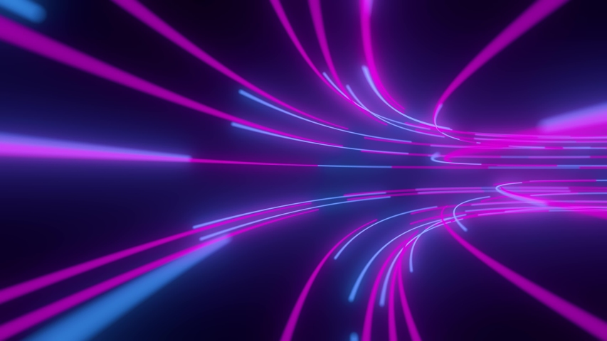 4K Futuristic technology abstract background with pink, blue, vivid lines for network, big data, data center, server, vj, internet, speed. Spectrum vibrant colors, laser show. 3d animation | Shutterstock HD Video #1053858044