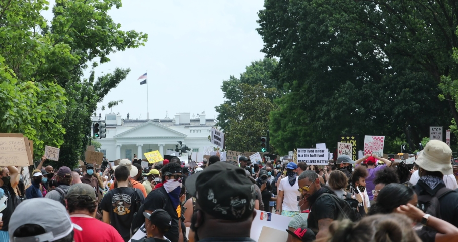Washington, D.C. USA - June 6, 2020: Protesters gather for a Black Lives Matter demonstration in Washington, D.C. This marked the largest gathering of protesters in the city since the death of George