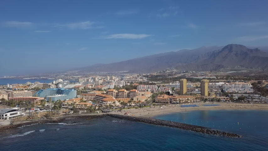 Aerial panorama of Los Cristianos resorts, Fuente Playa de las Vistas and Playa del Camison beach, Tenerife, Canary islands, Spain.
