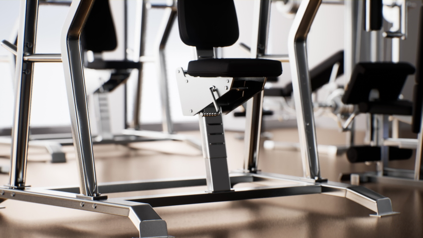 Fitness center room interior with equipment 4K clip. 3d rendering interior gym room with tools and machine. Royalty-Free Stock Footage #1053884855