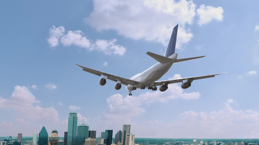 Airplane Landing in Dallas USA