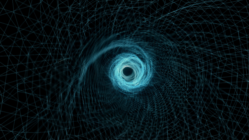 3D rendering graphic fantasy effect wire-frame spin form to black hole in center focus include alpha matte. | Shutterstock HD Video #1053909074