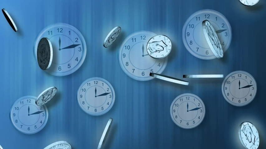 Clocks with falling coins.Time is money.Television channel business news intro outro