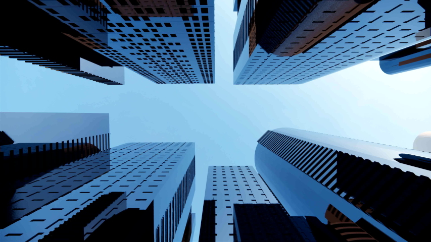 3d render of abstract bright city with skyscrapers. Simple forms of buildings in daylight. Forward camera movement.top of the abstract 3D city of white. Approach and distance to the height of a decent Royalty-Free Stock Footage #1053919394