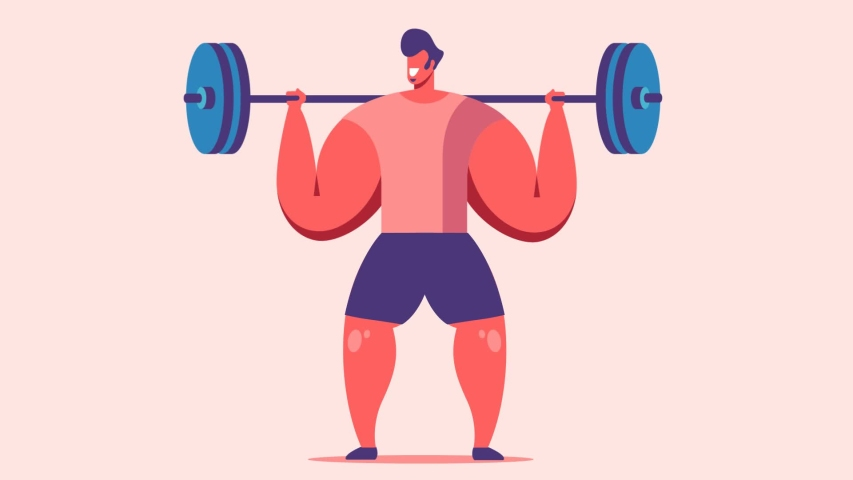 Man is working out and lifting weight in fitness center. Health lifestyle, sport and activity. Vector flat design in motion graphics