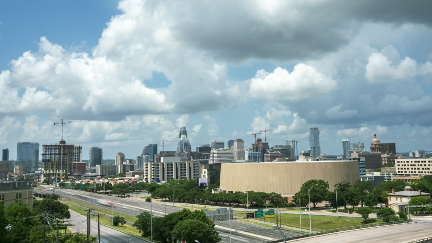 Panning up to the Cloudy Skies over Austin Texas Skyline