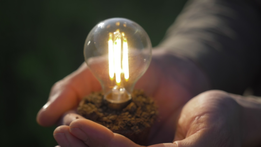 Idea solar energy in nature, hand holding light bulb. Eco energy saving, alternative solar energy, renewable resources, electricity. hand holding light bulb. innovation, inspiration, ecology concept