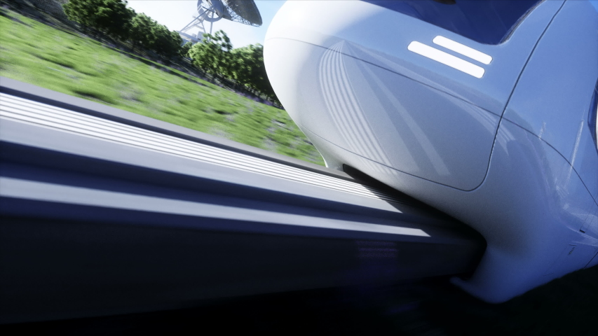 Futuristic sci fi monorail train. Concept of future. Futuristic city background. Grass field. 4K realistic animation. | Shutterstock HD Video #1053968825